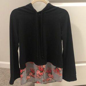 Tops - Black floral hoodie